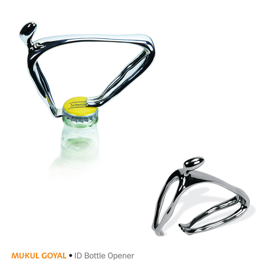 ID Bottle Opener by Mukul Goyal on Zaarga - in chromed brass.