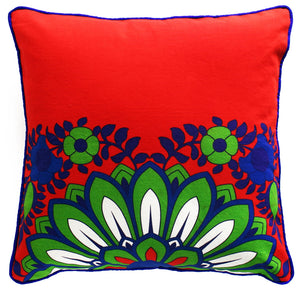 Sparkling Green Blue Flower Cushion Cover