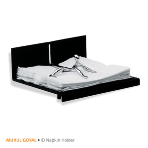 ID Napkin Holder by Mukul Goyal on Zaarga - classy and convenient napkin holder Chromed Brass and Black Aluminium