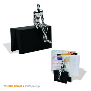 ID Paper clip by Mukul Goyal on Zaarga - to hold your notes, bills, postcards or even a photograph.  Finished in Chromed Brass and Black Aluminium.