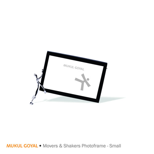 Movers and Shakers Photoframe by Mukul Goyal on Zaarga - finished in Chromed brass & Black aluminium.