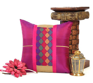 ANS Purple Cushion cover with multicolour jacquard and pleats