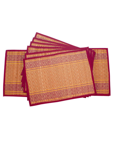 Exclusive Maroon Bamboo Dining Mat Set of 6 Pcs with Runner