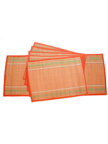 Vibrant Orange Bamboo Dining Mat Set of 6 Pcs with Runner