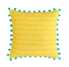 Script cushion cover- Yellow