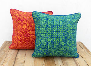 Blue and green- tile print cushion cover
