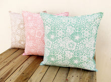 Mint- Lace print cushion cover