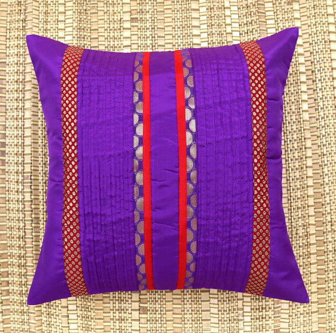 ANS Purple pin tucked cushion cover with contrast red brocade.