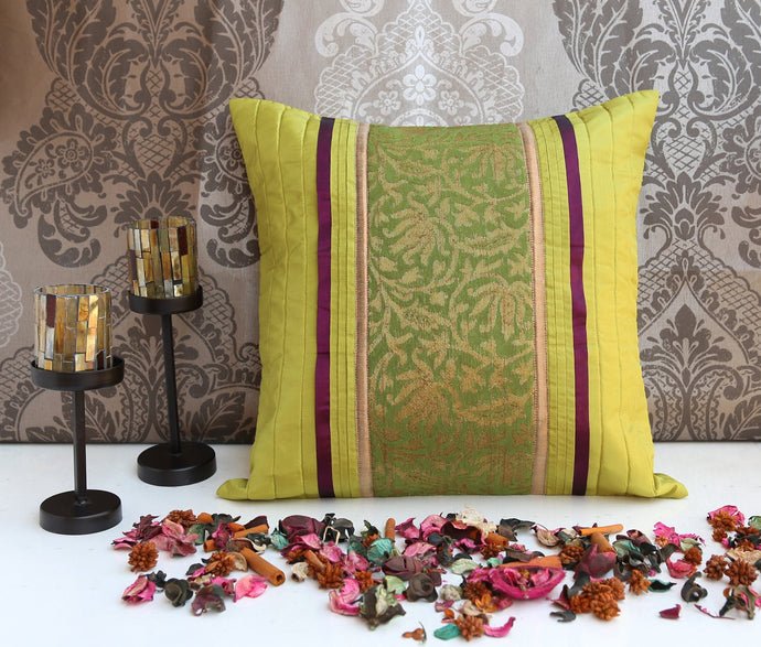 ANS Lime Green cushion cover with contrast floral jacquard and pleats