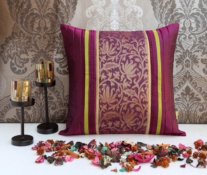 ANS Purple cushion cover with contrast floral jacquard and pleats