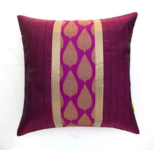 ANS Purple cushion cover  with leaf motif brocade and gold trims