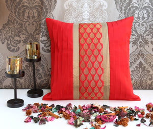 ANS Red cushion cover with leaf motif brocade and gold trims