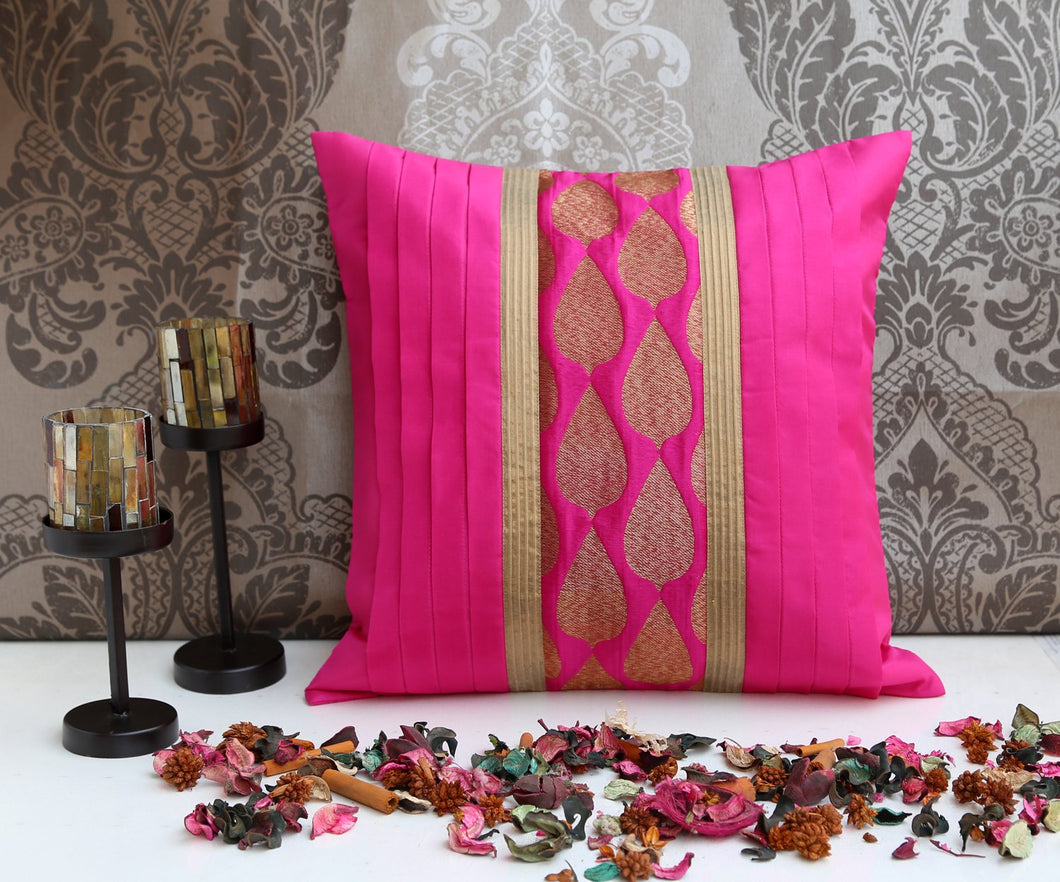 ANS Fuschia cushion cover with leaf motif brocade and gold trims
