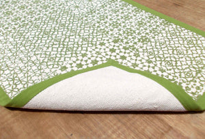Jharokha- green cotton rug- 24' x 36'
