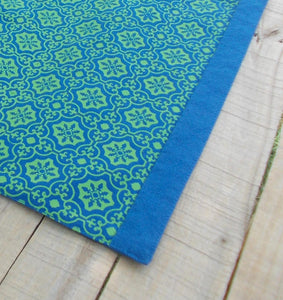 Blue and green- Tile print Table runner, 14'x60'