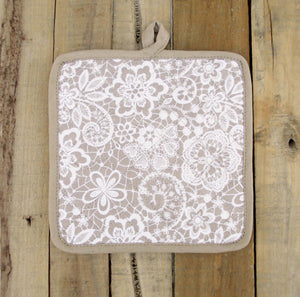 Beige- Lace print Pot holder