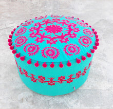 Pouf cover, pink embroidery, suzani pattern, folk pouf, bohemian ottoman cover, with pompoms, 22X12
