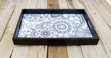 Zentangle print, wooden tray, resin finish, lacquered frame, serving tray, gift, 10' x 15'
