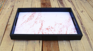 Coral marble print, wooden tray, resin finish, lacquered frame, serving tray, gift, 10X15 inches