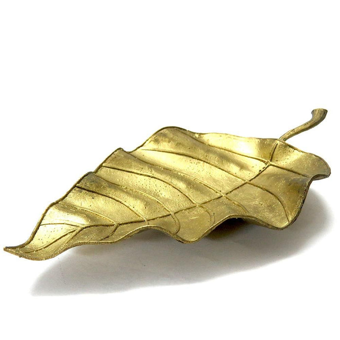 Miharu Dhokra Huge Leaf Side Table Tray