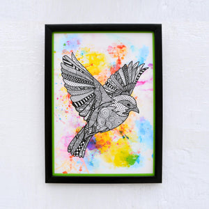 Digital print wall art, bird print, doodle, laminated, 8X11 inches