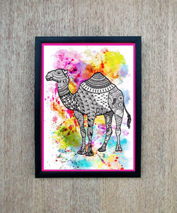 Digital print wall art, camel print, doodle, laminated, 8X11 inches