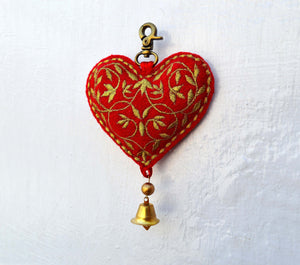Christmas ornament, heart shape, handmade, holiday charm, xmas tree ornament, size 5.5' or 14 cms