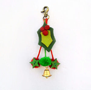 Christmas ornament, holly leaves, handmade, holiday charm, christmas tree ornament, size 5' or 12.5