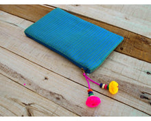Turquoise pouch, zipper purse, make up or cosmetic bag, utility pouch, quilted polysilk, bohemian