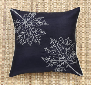 Black Maple Leaf Embroidered Cushion Cover
