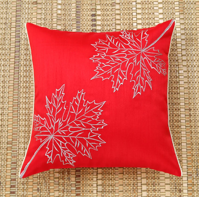 Red Maple Leaf Embroidered Cushion Cover