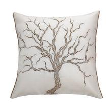 White Dry Tree Golden Embroidered Cushion Cover
