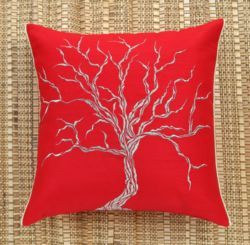 Red Dry Tree Golden Embroidered Cushion Cover