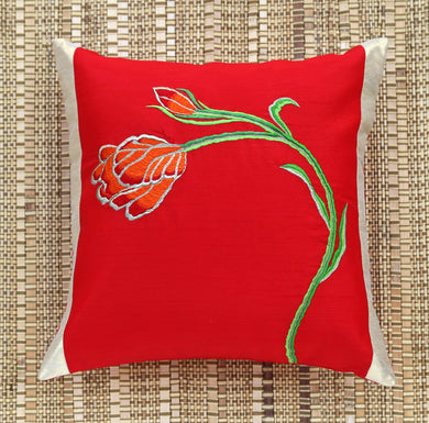 Red Tulip Embroidered Cushion Cover
