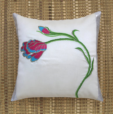 White Tulip Embroidered Cushion Cover