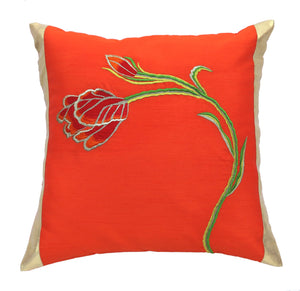 Orange Tulip Embroidered Cushion Cover