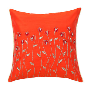 Orange Waving Flowers Embroidered Cushion Cover