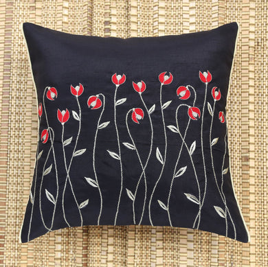 Black Waving Flowers Embroidered Cushion Cover