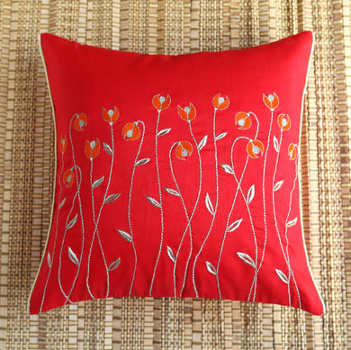 Red Waving Flowers Embroidered Cushion Cover