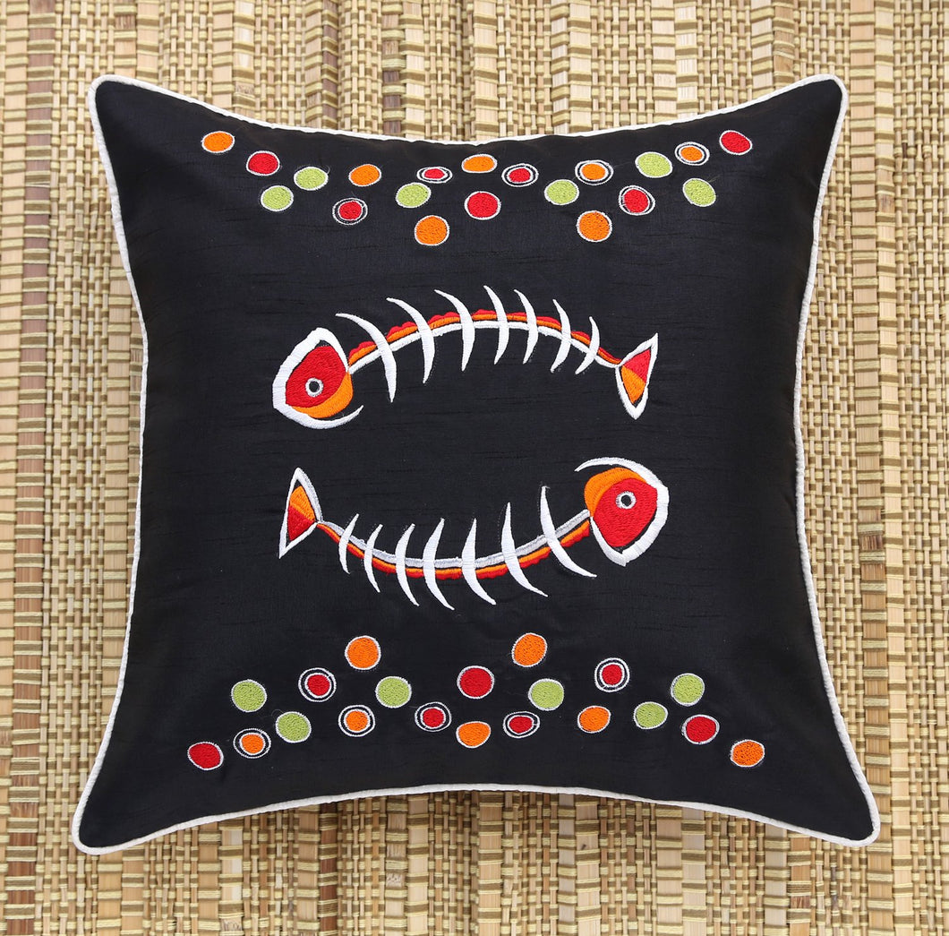 Black Fishbone Embroidered Cushion Cover