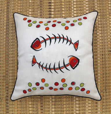 White Fishbone Embroidered Cushion Cover