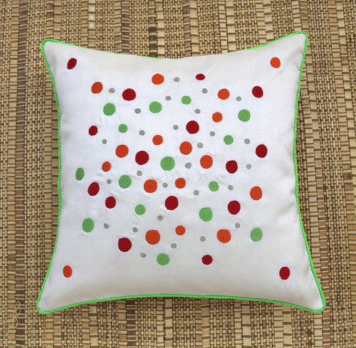 White Polka Dots Embroidered Cushion Cover