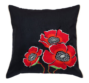 Black Big Flowers Embroidered Cushion Cover