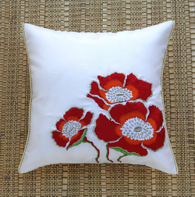 White Big Flowers Embroidered Cushion Cover