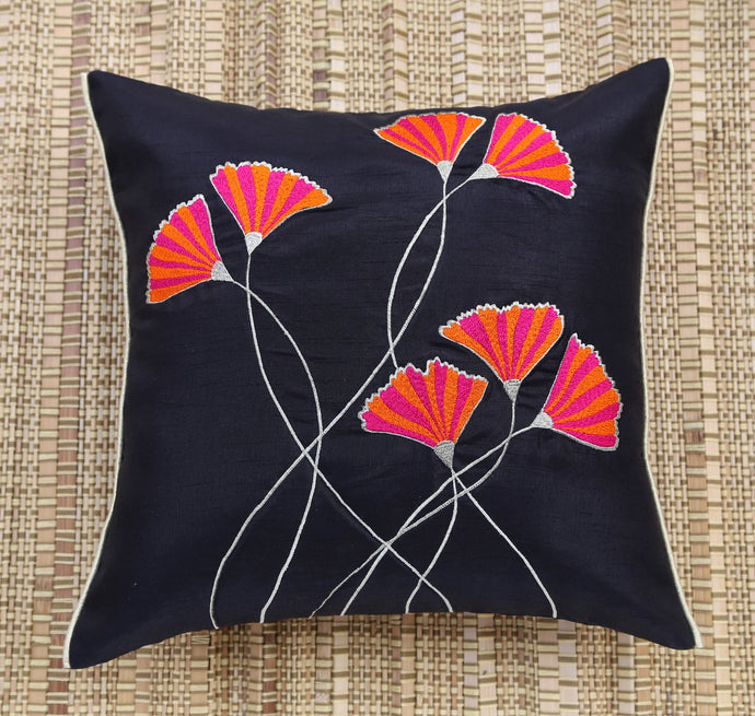 Pink & Orange Floral Embroidered Cushion Cover