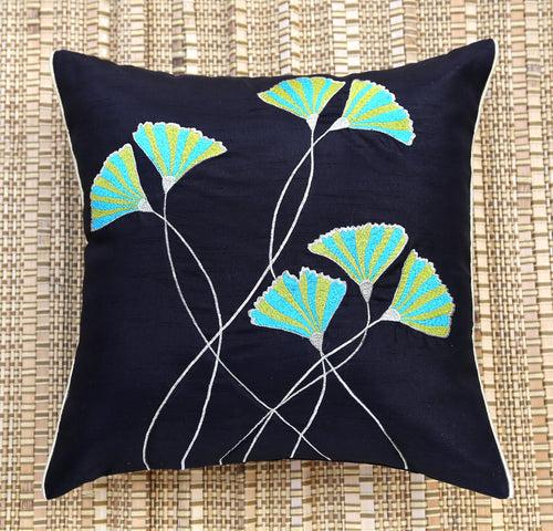 Green & Blue Floral Embroidered Cushion Cover