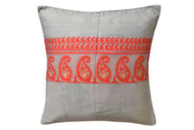 Miharu Grey and Orange Paisely Pure Silk Baluchari Cushion Cover