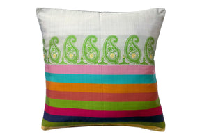 Miharu Multicolored and Green Paisely Pure Silk Baluchari Cushion Cover