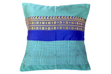 Miharu Grey and Blue Embroided Pure Silk Baluchari Cushion Cover