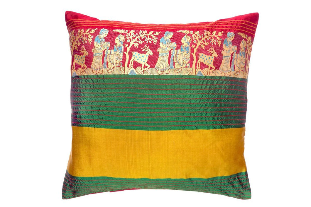 Miharu Green and Mustard Embroided Pure Silk Baluchari Cushion Cover